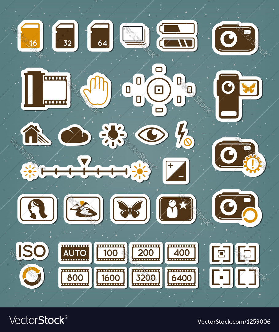 Camera screen icons set vector