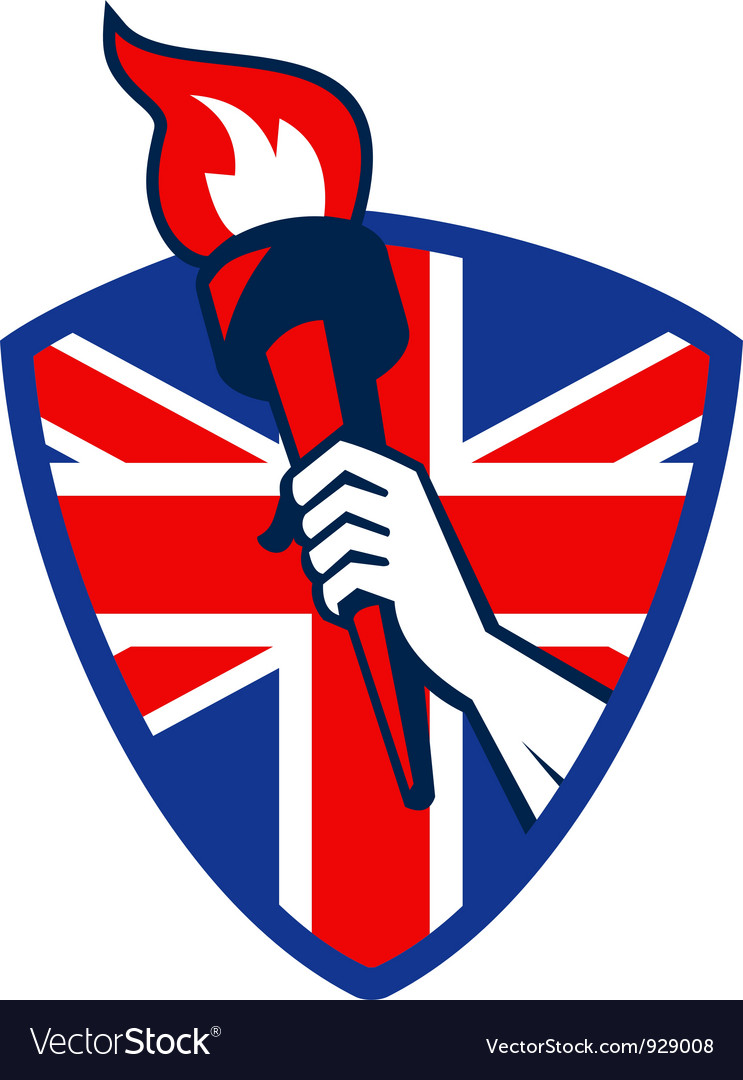 Hand holding flaming torch british flag vector