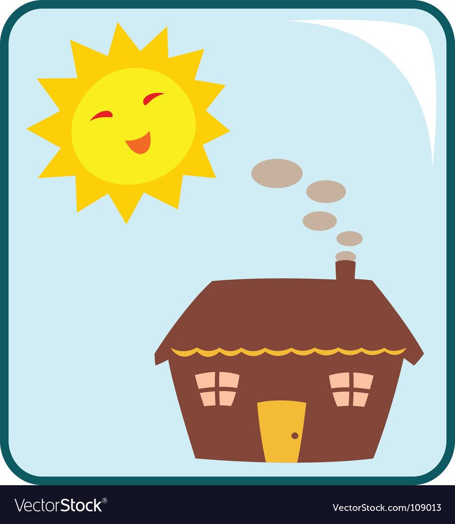 House and sun vector
