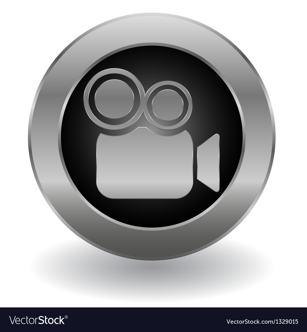 Metallic video camera button vector