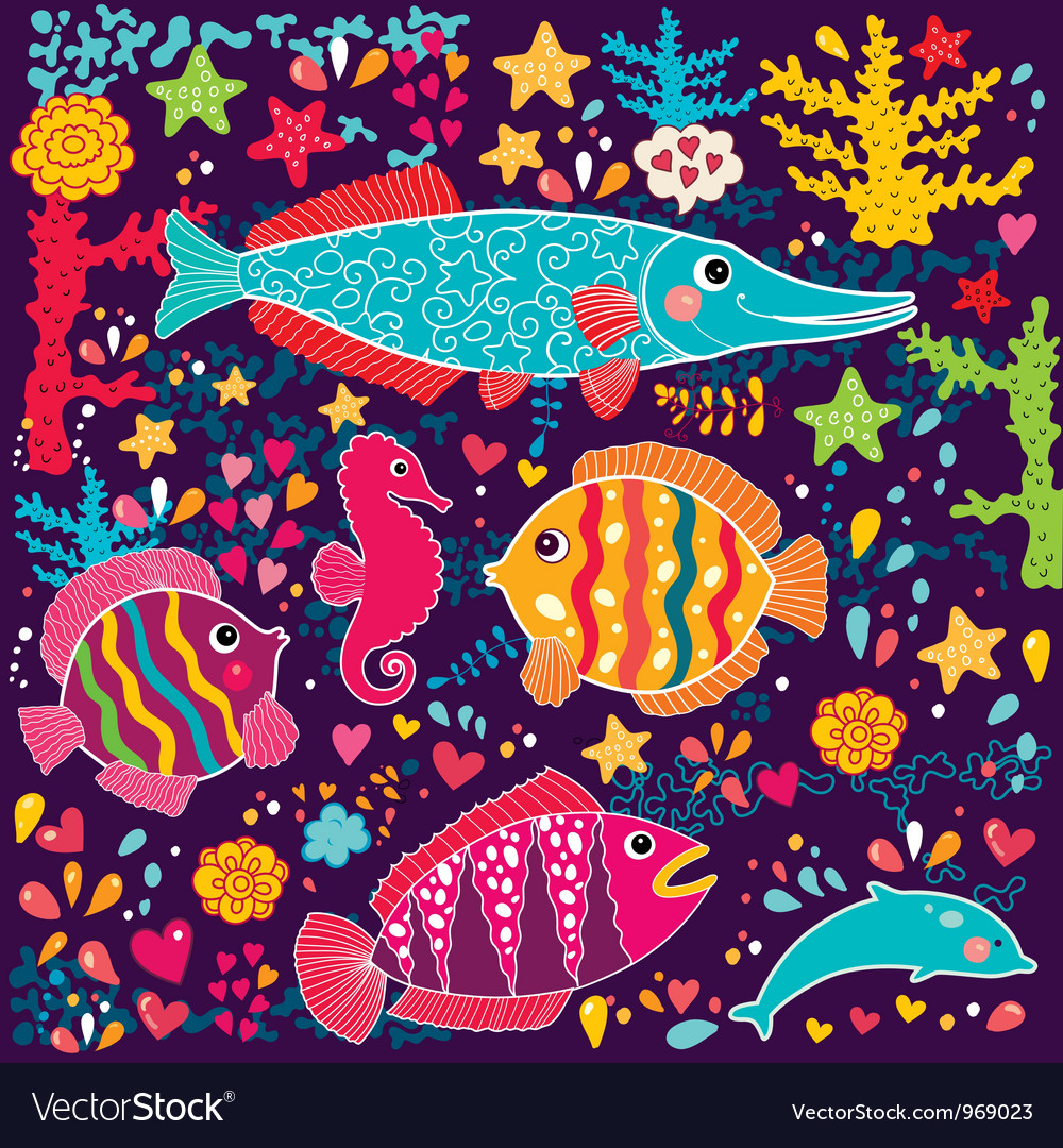 Cartoon marine life vector