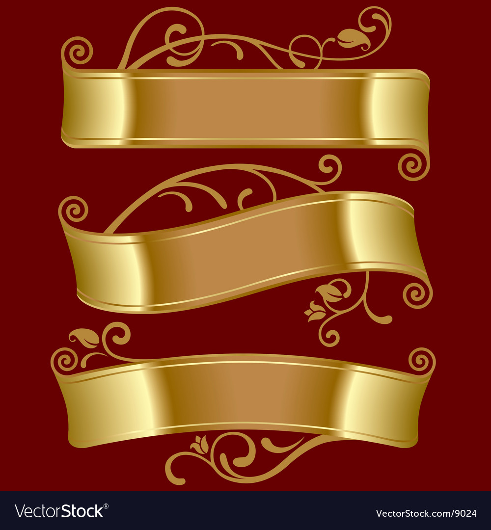 Three gold banners vector