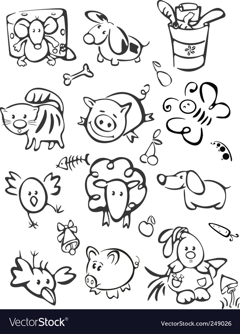 Silhouette of cute animals for vector
