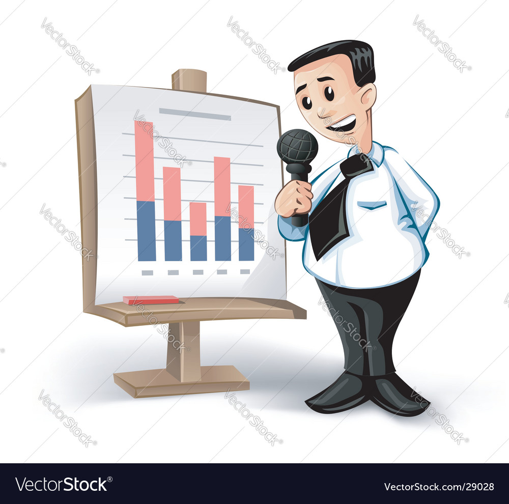 Businessman charts vector