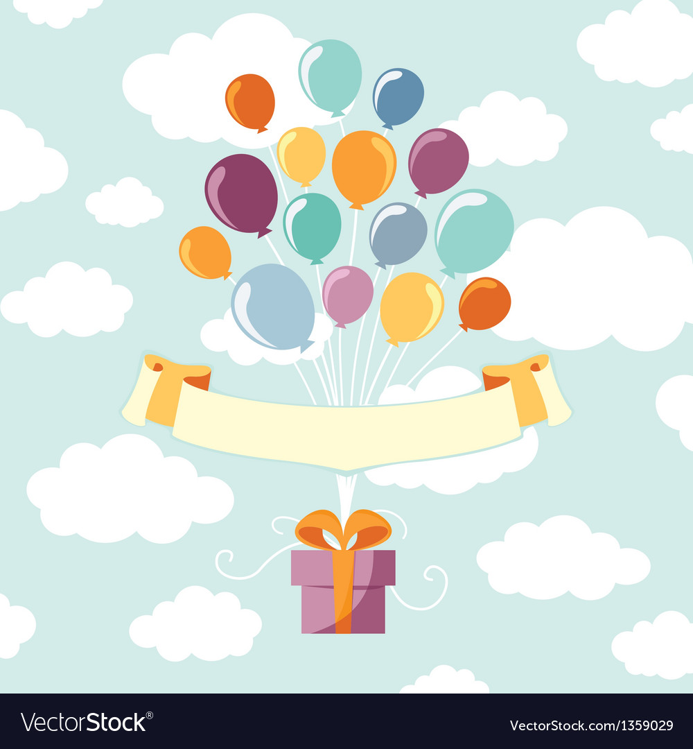 Balloons with gift vector