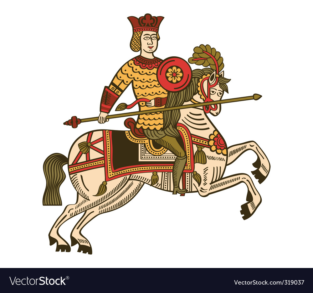 Medieval Knight On Horse Drawing Medieval knight vector