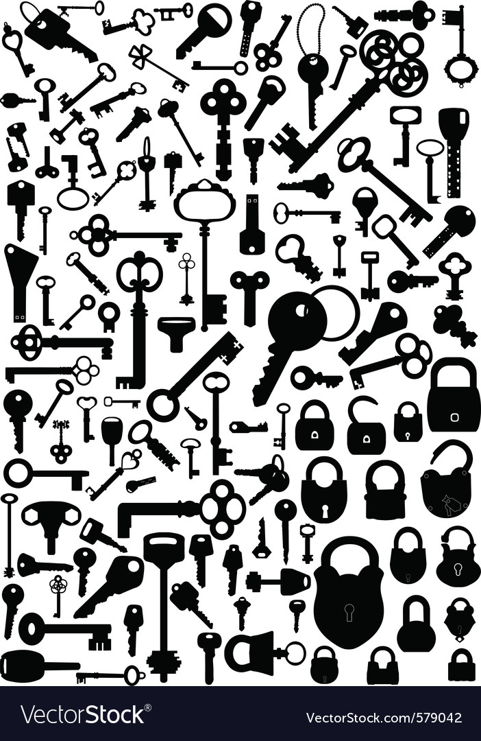 Keys and padlocks vector
