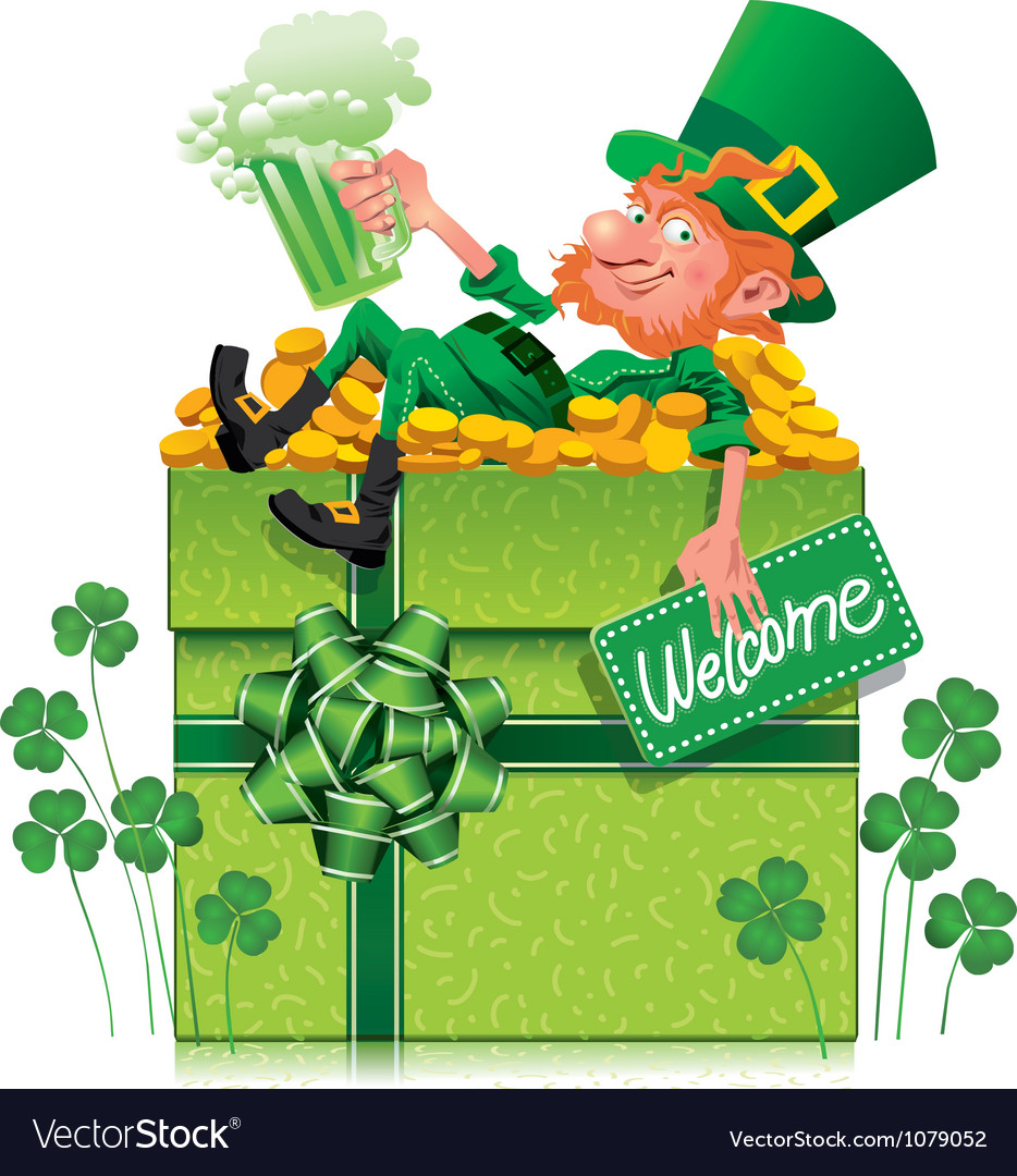 Free leprechaun with box vector