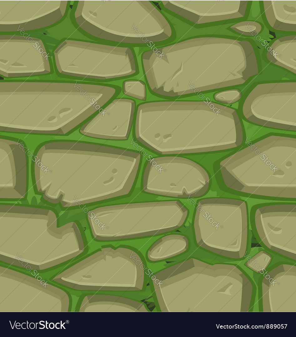 Green grass with stones vector