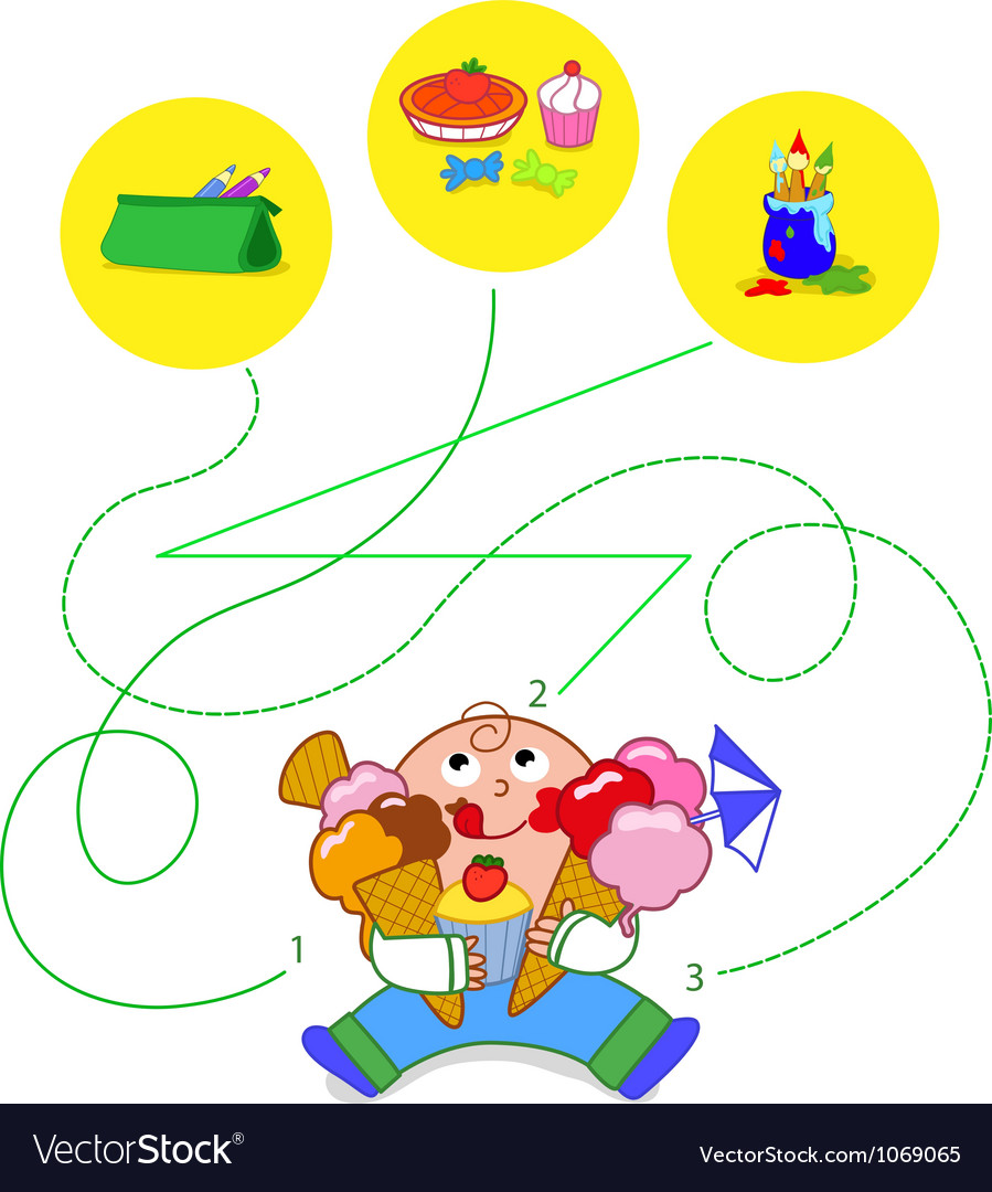 Child eating sweets  game vector