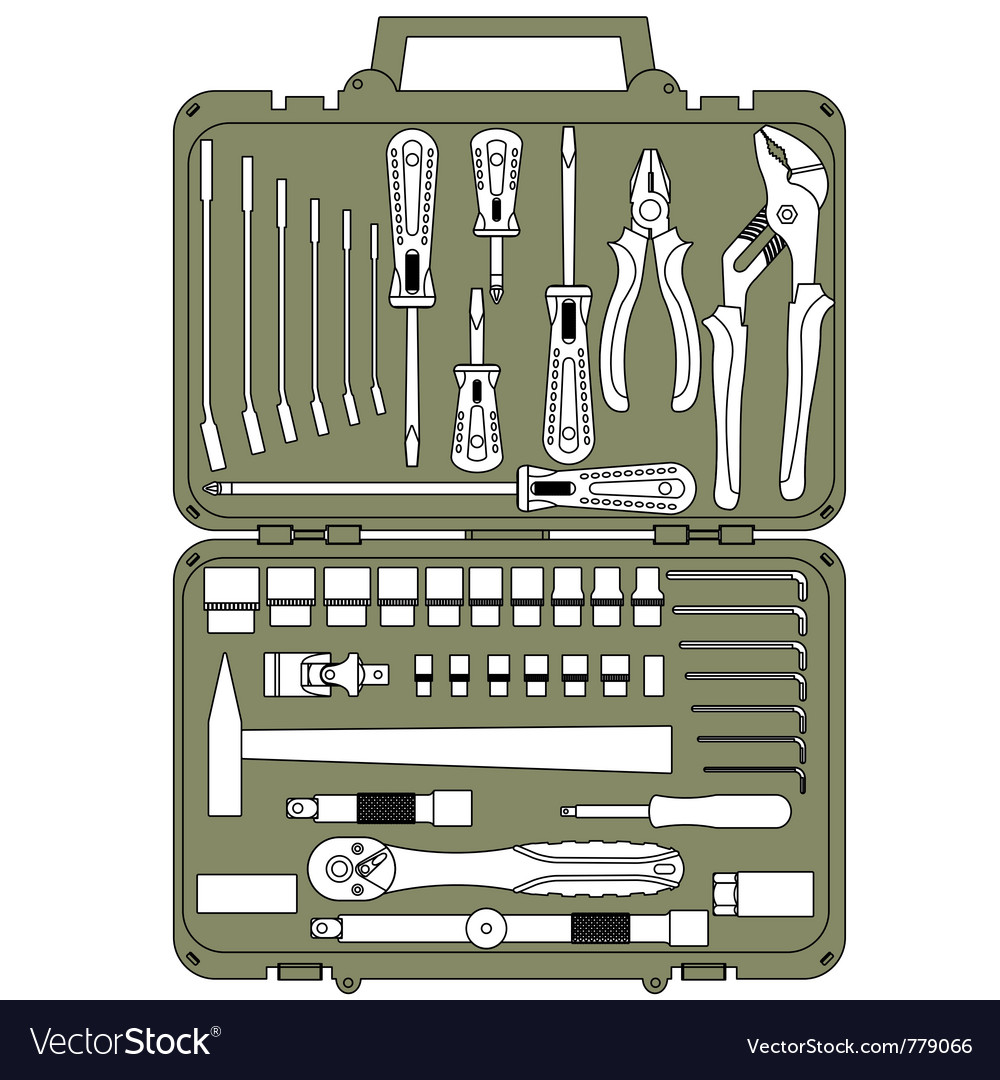 Tools in a box vector