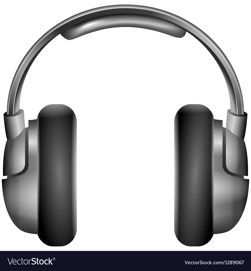 Isolated metallic headphones vector
