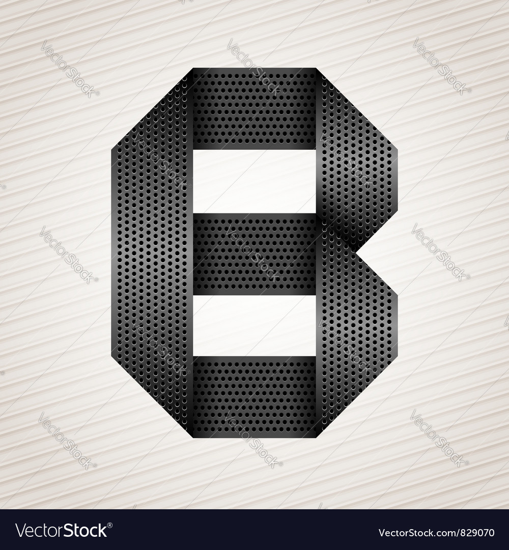 Letter metal ribbon  b vector