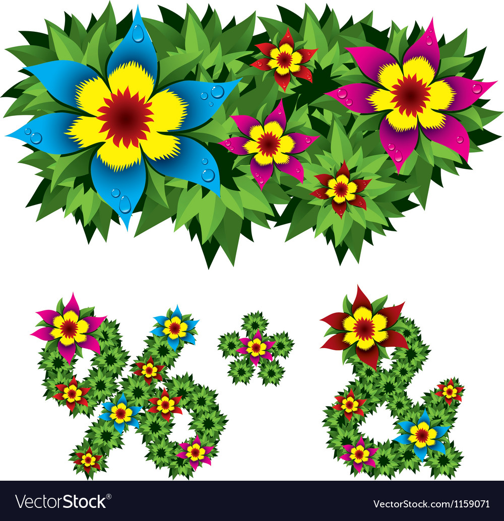 Flowers alphabet 14 vector
