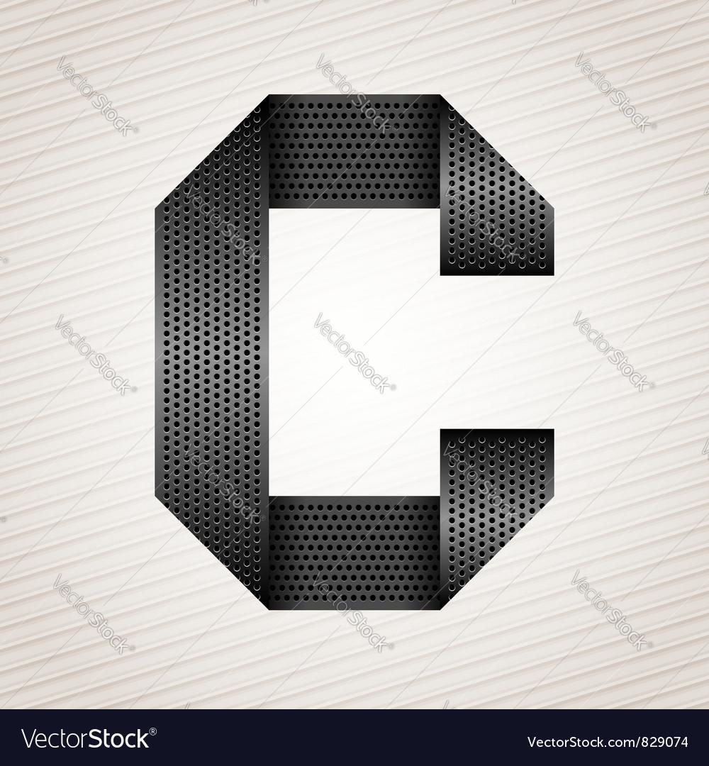 Letter metal ribbon - c vector
