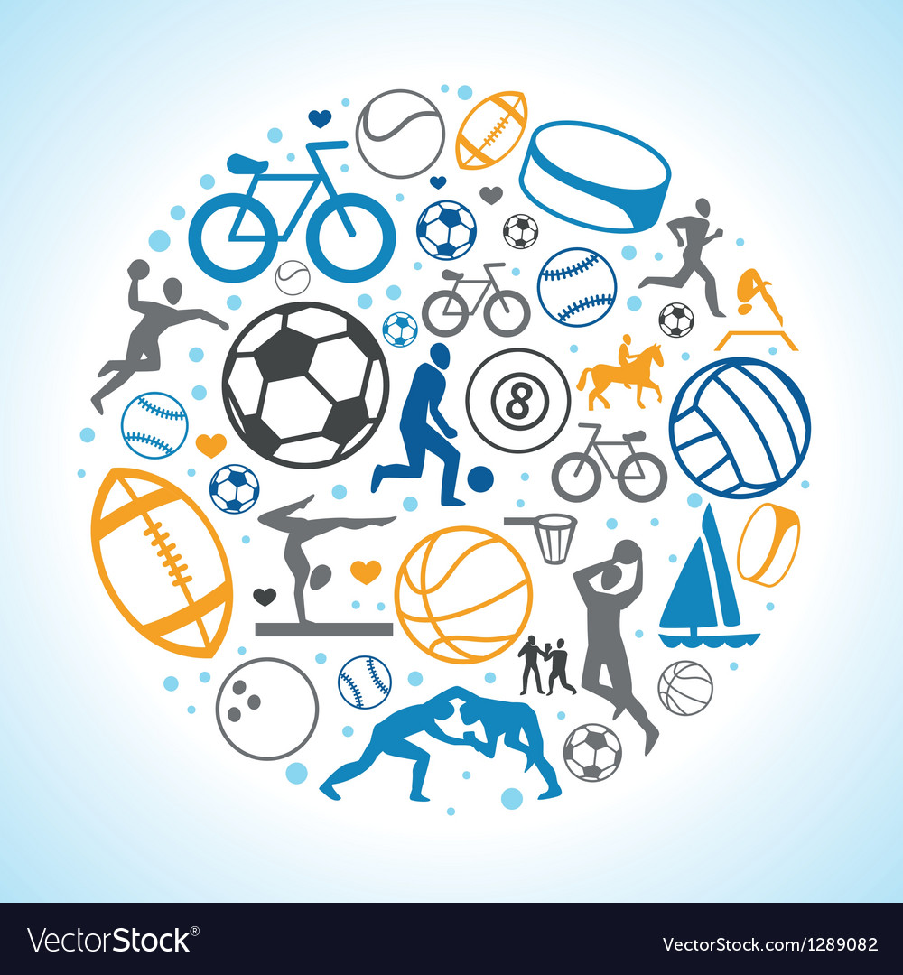 Round concept with sport icons and signs vector