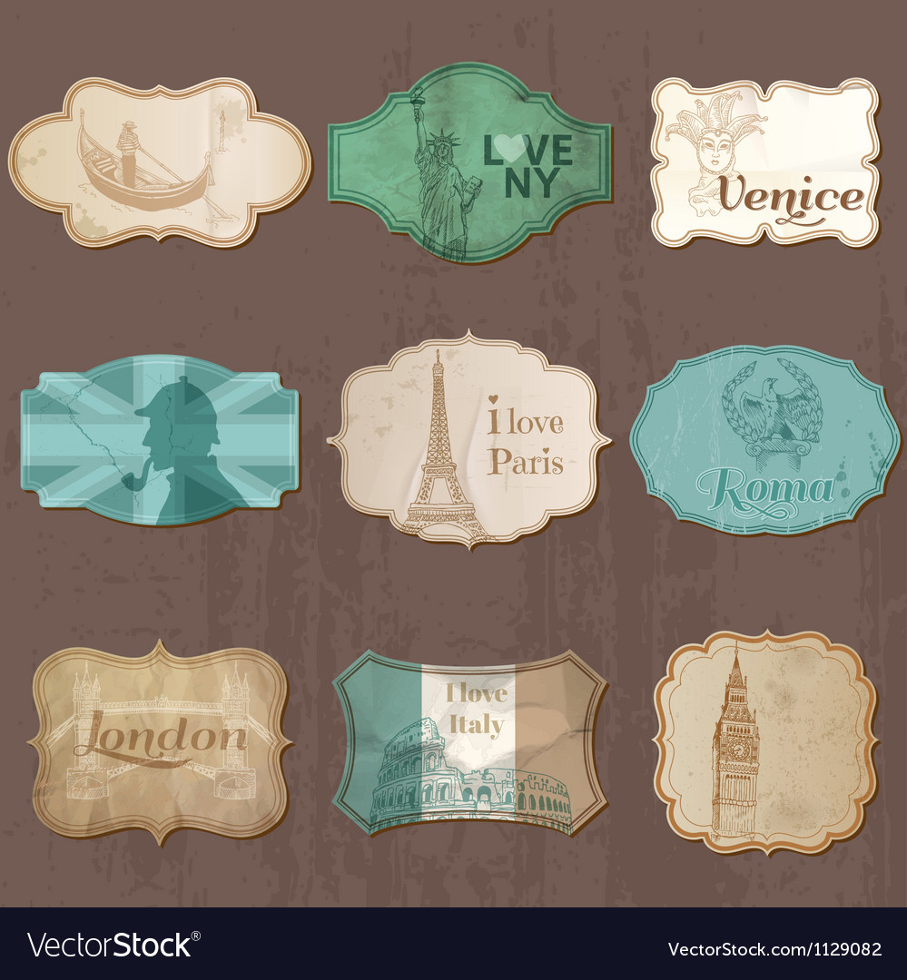 Vintage design city elements for scrapbook vector