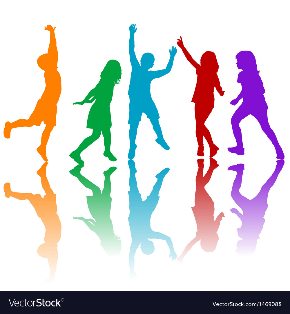 Colored children silhouettes vector
