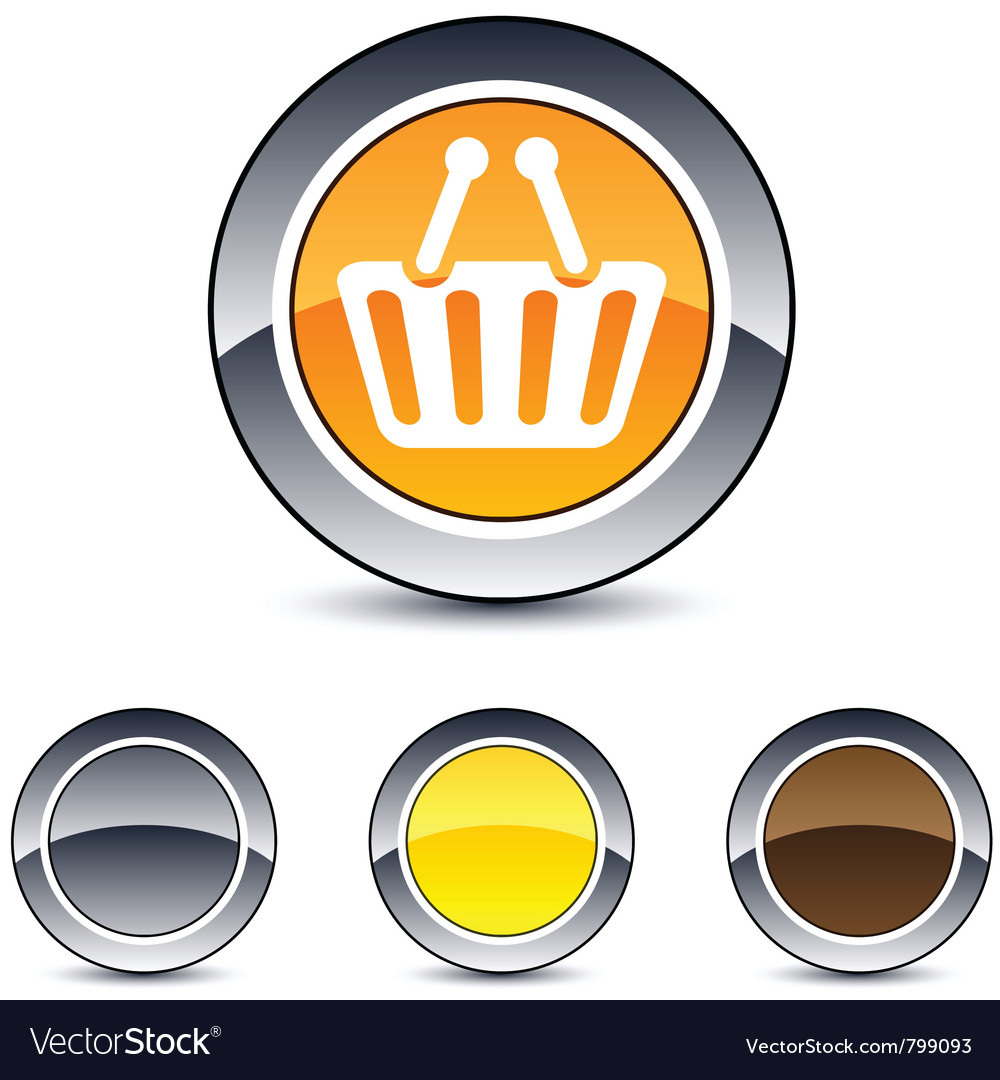 Shopping cart round button vector