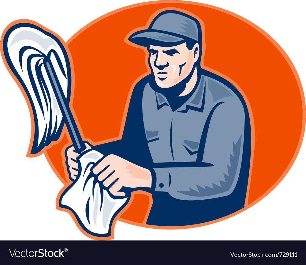 Janitor cleaner with mop vector