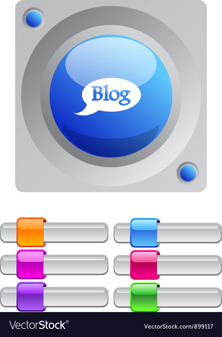 Blog color round button vector