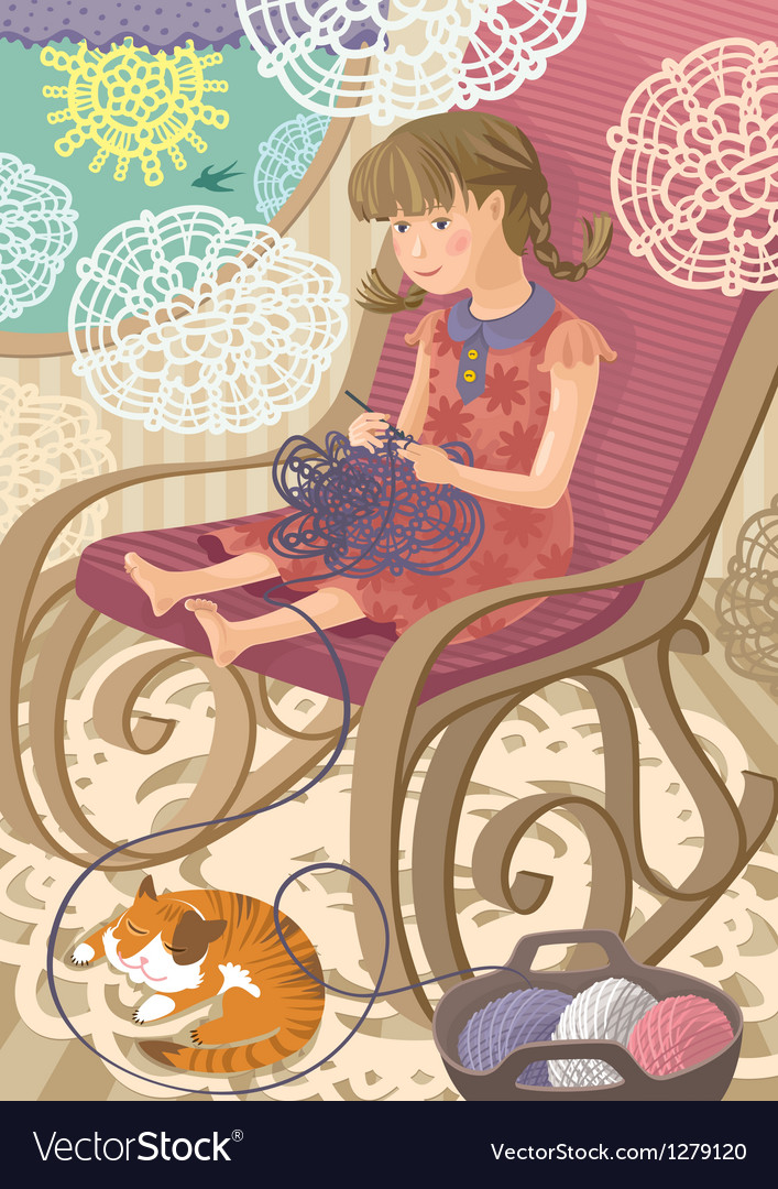 Girl crocheting vector