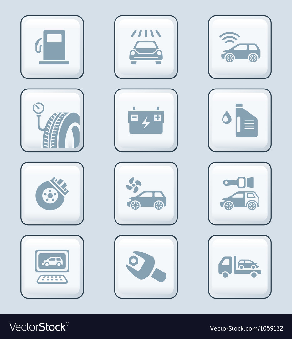 Car service icons - tech series vector
