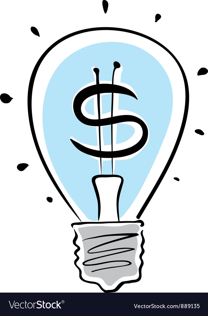 Light bulb with dollar symbol vector