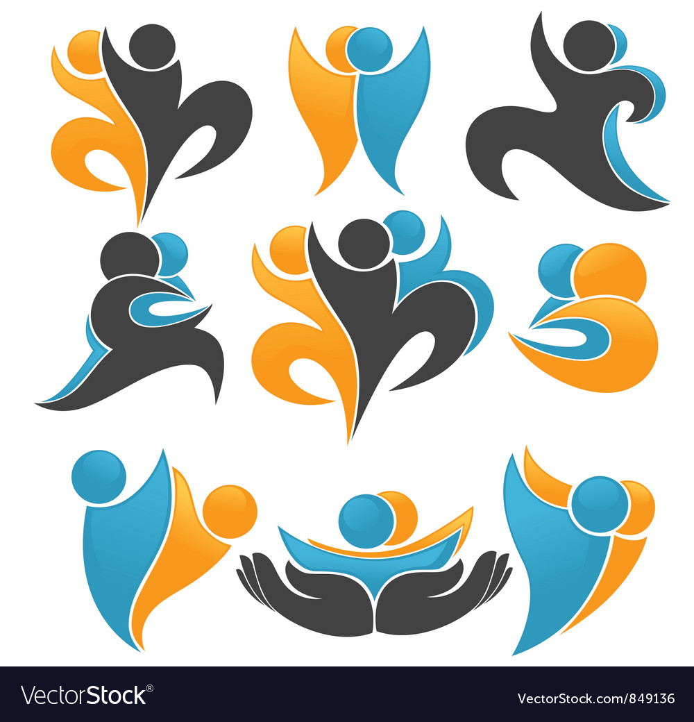 Abstract people and plant vector