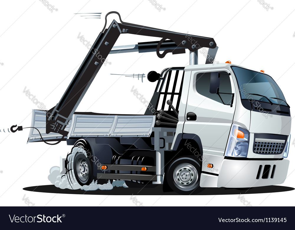 Cartoon lkw truck with crane vector