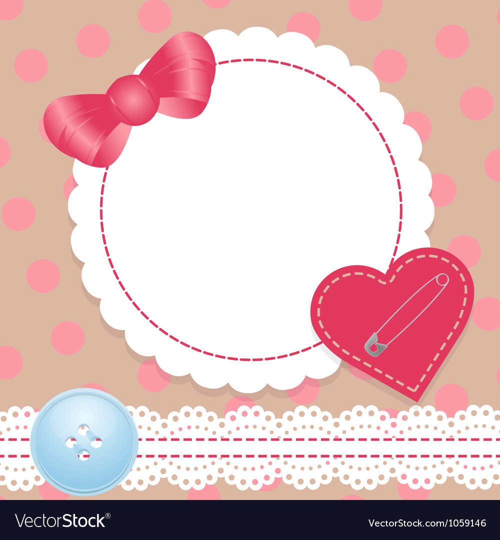 Birthday card with heartlace and bow contains a vector
