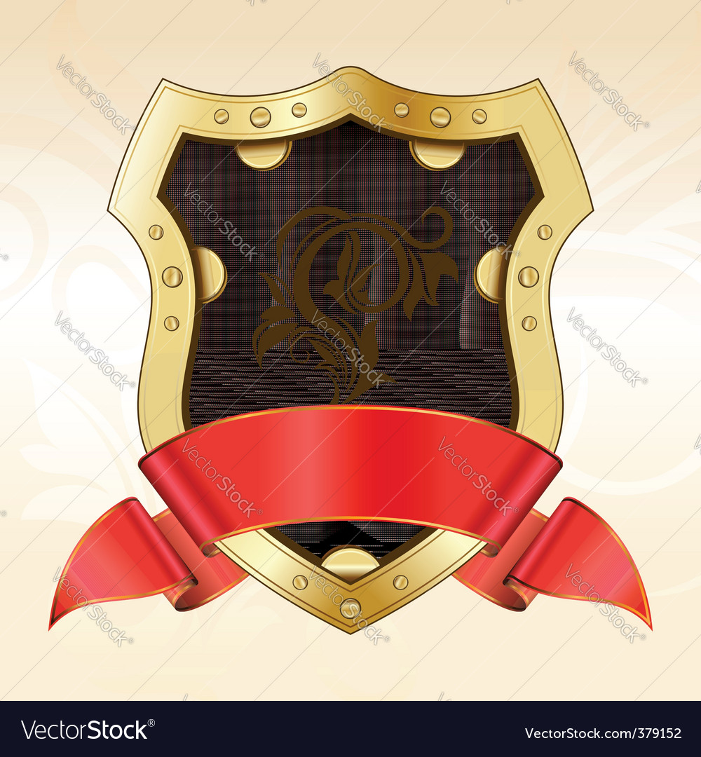 Gold shield with ribbon vector