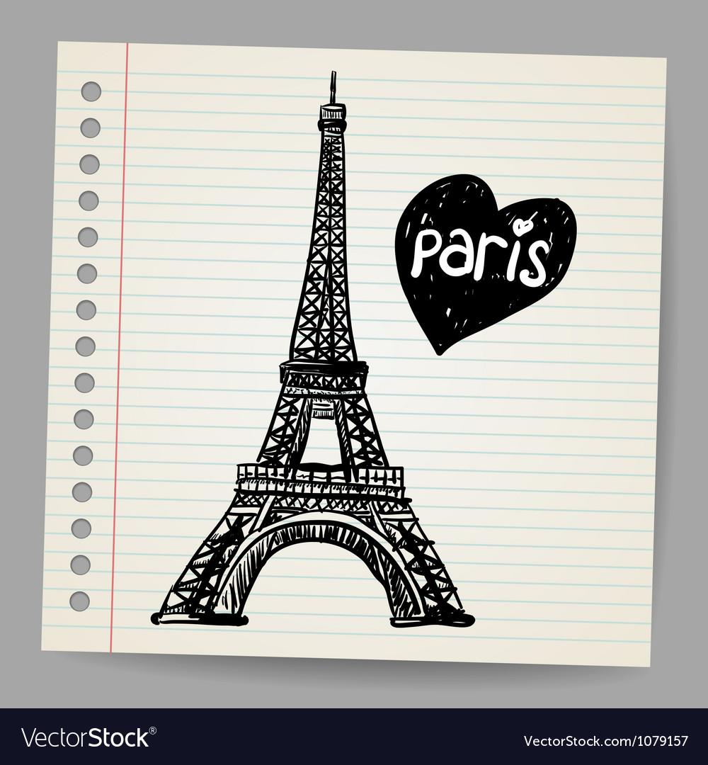 Eiffel tower doodle vector