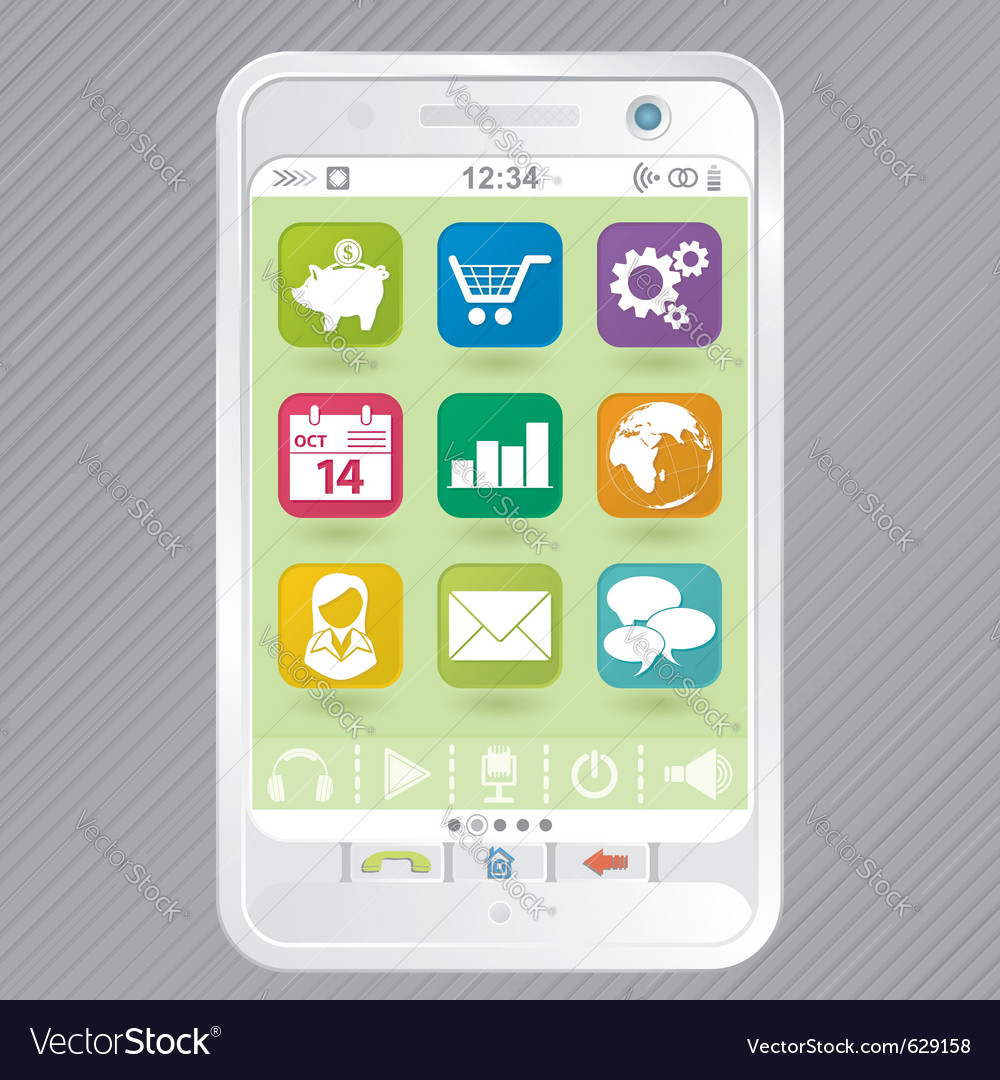 Mobile white smartphone with icons element for des vector