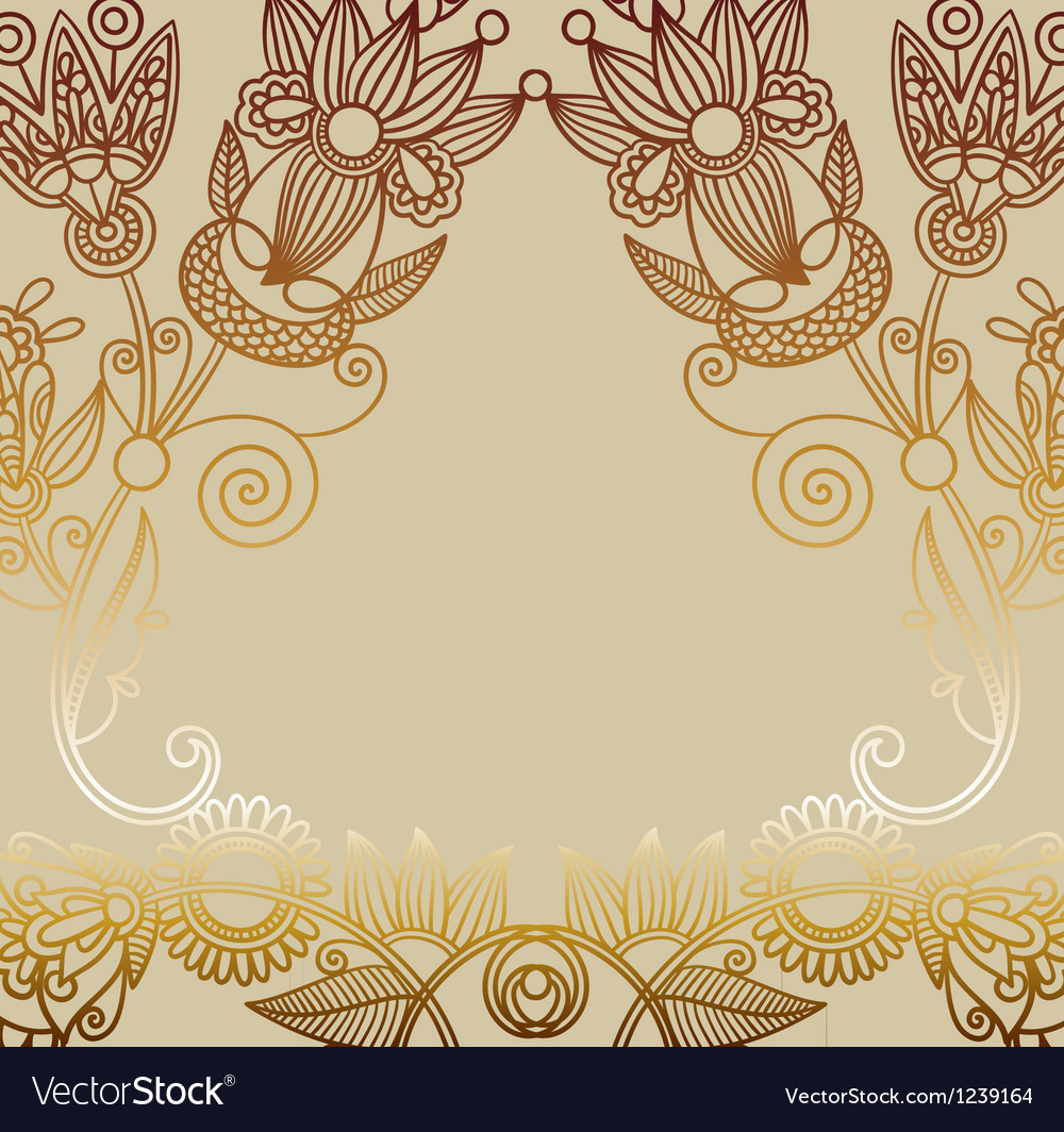 Hand draw ornate floral background vector