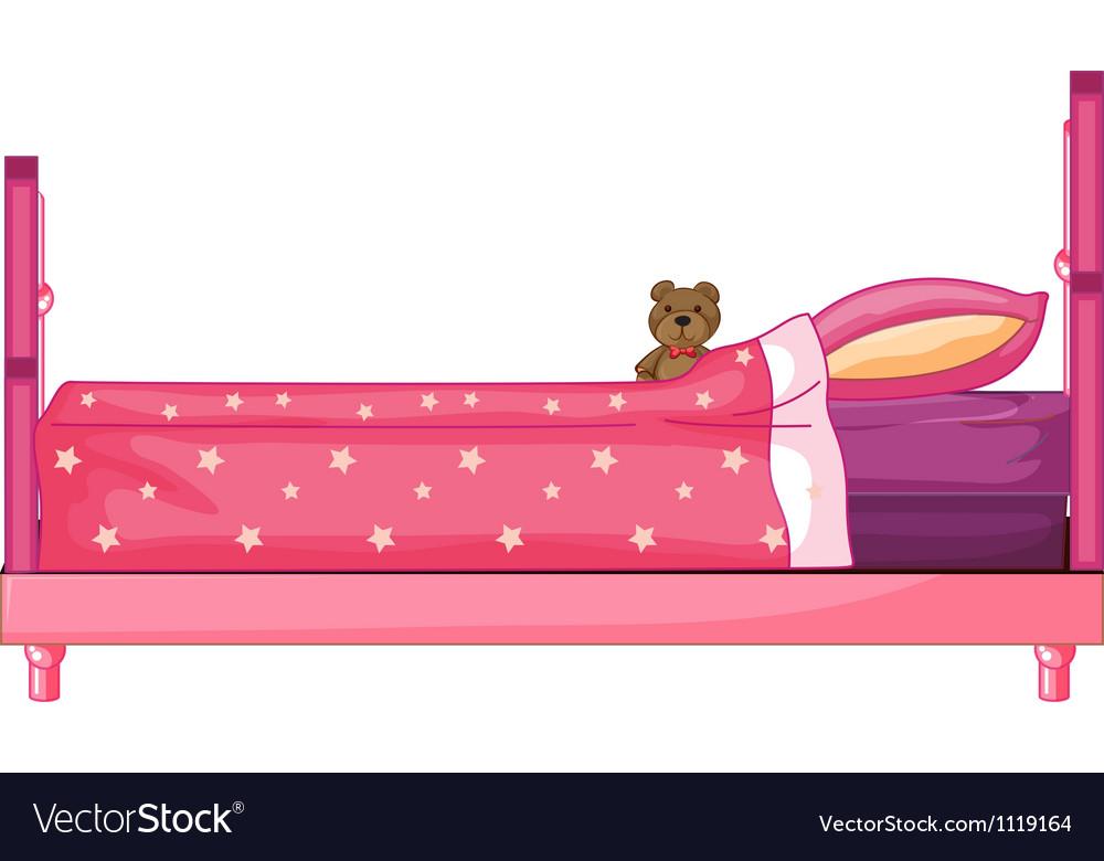 Pink bed vector