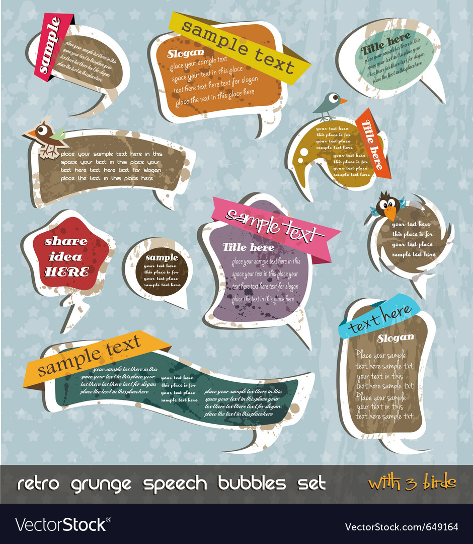 Retro grunge speech bubbles vector