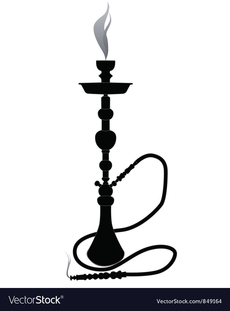 Silhouette of a hookah vector