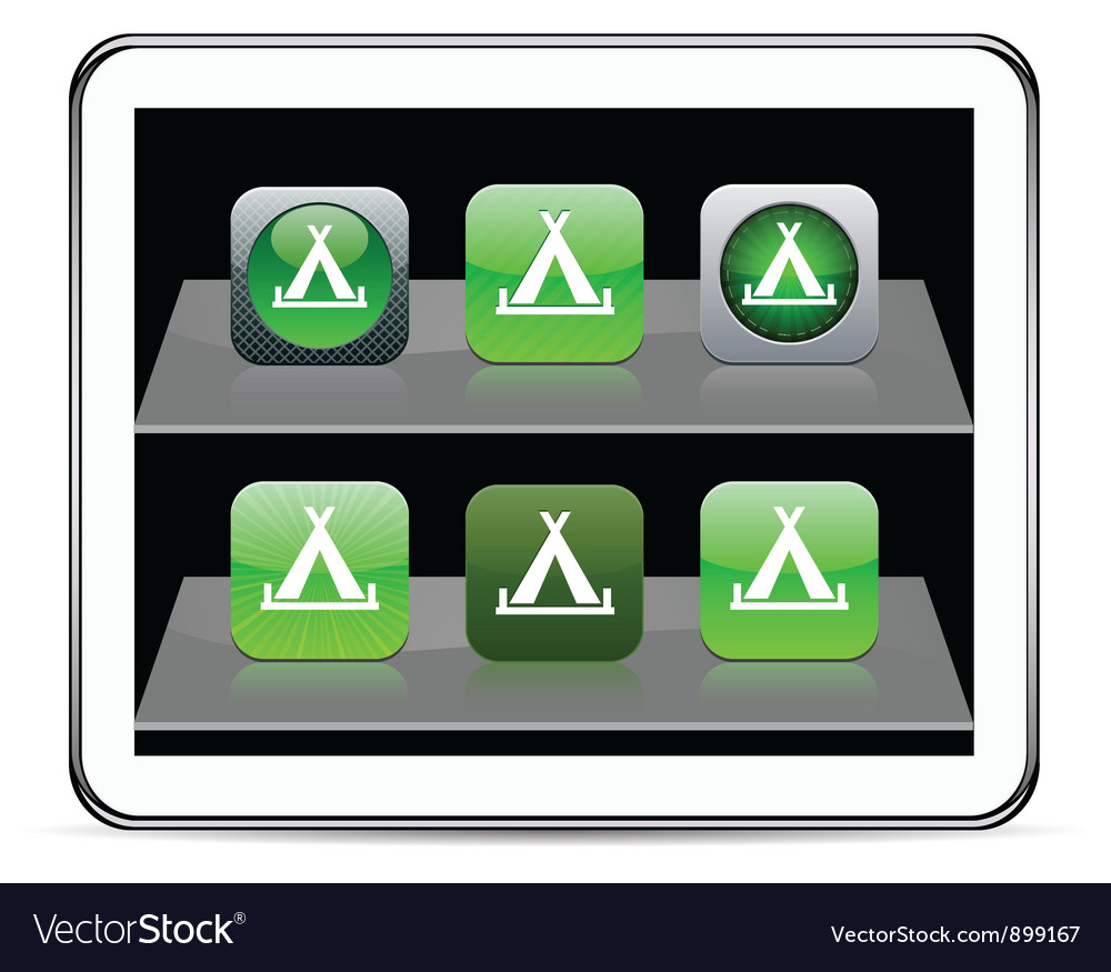Tent green app icons vector