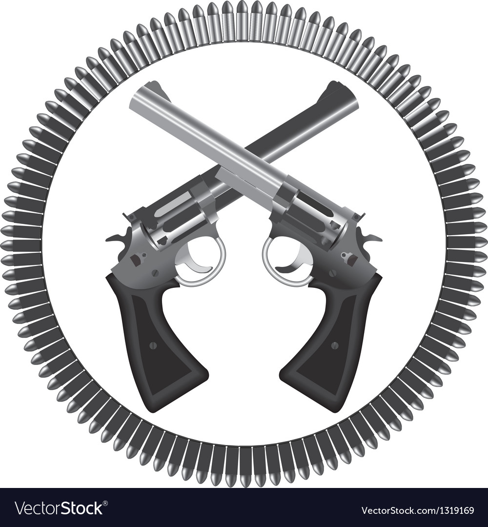 Revolvers and bullets vector