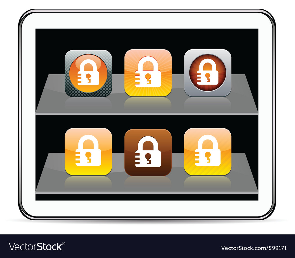 Lock orange app icons vector
