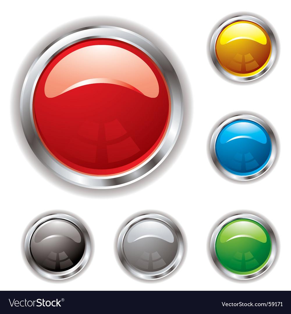 Silver bevel gel button vector