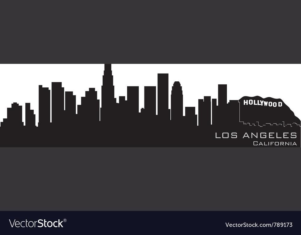 Los angeles california skyline detailed silhouette vector