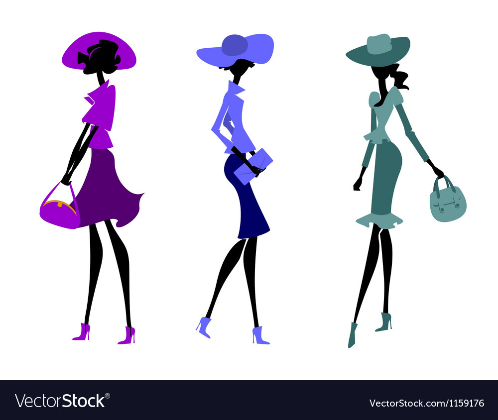 Three women in hats vector