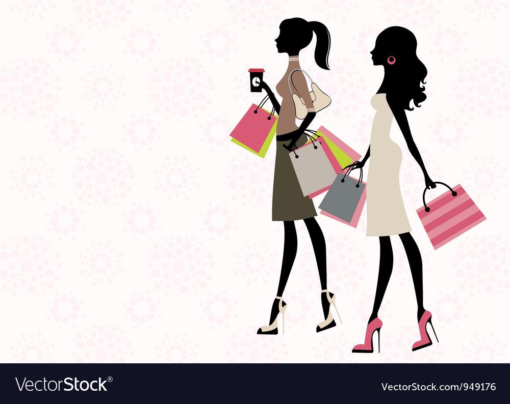 Two women shopping vector