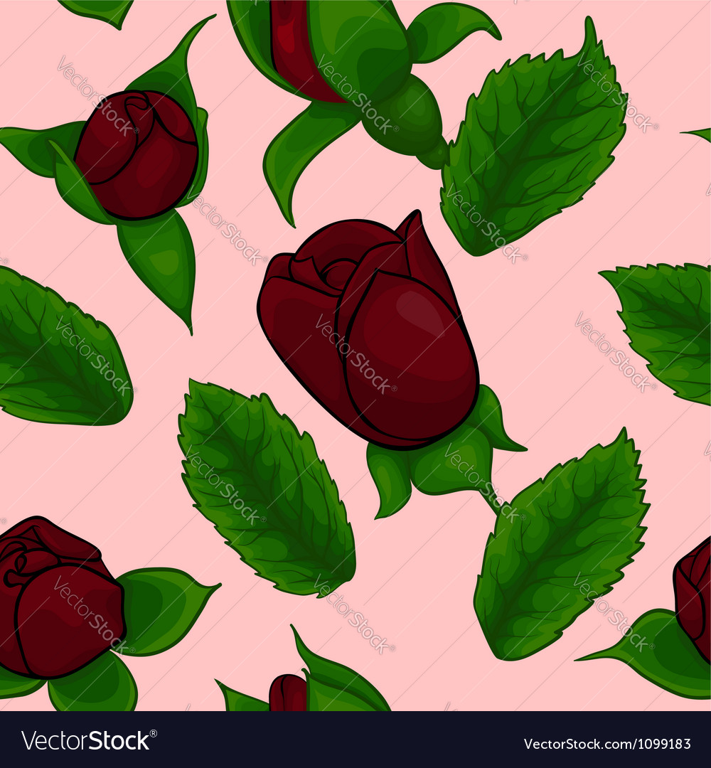 Seamless pattern rosebuds rose and leaves vector