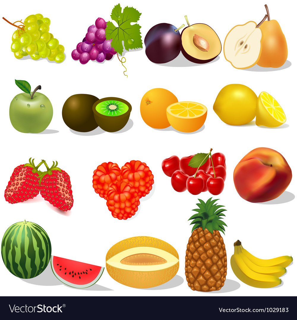 Set ripe fruit and berries on white vector
