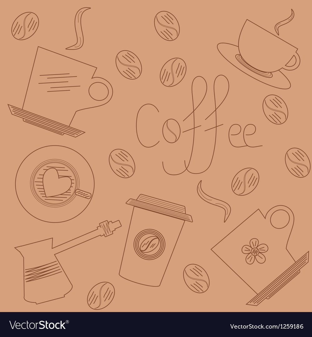 Coffee background in hand draw style vector
