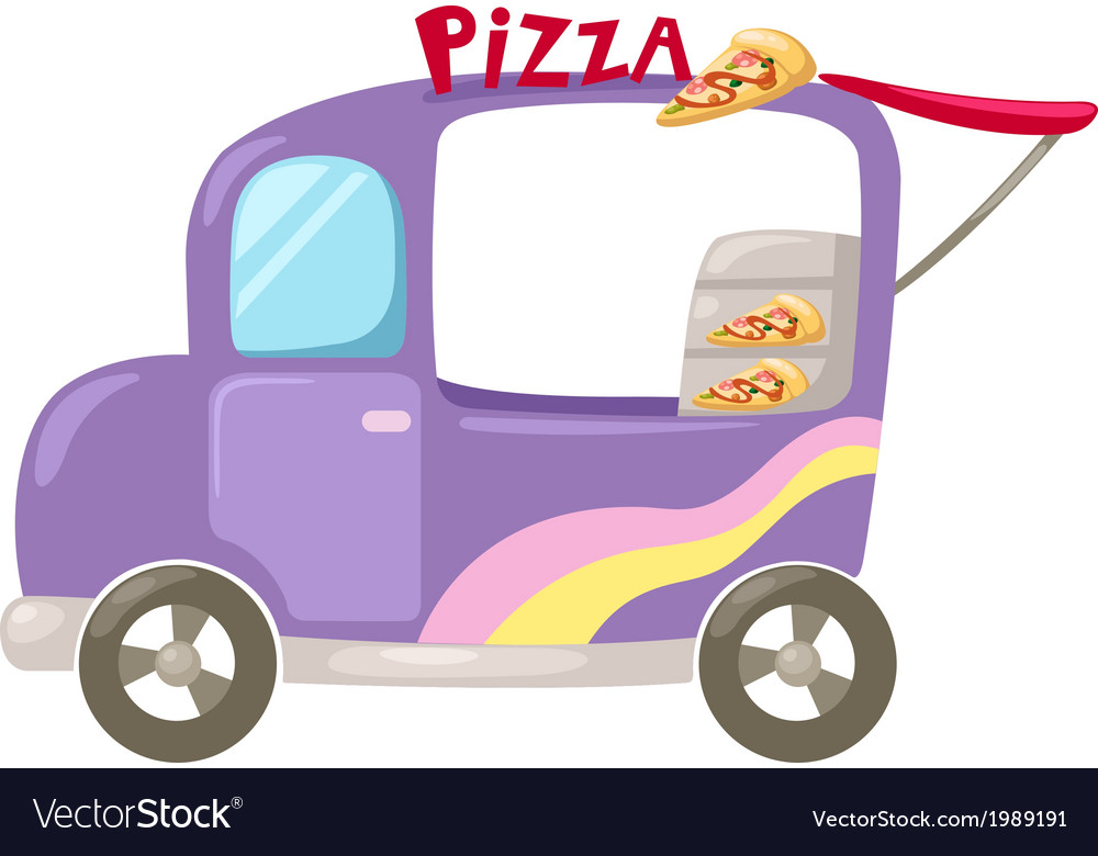 Italian pizza delivery car vector