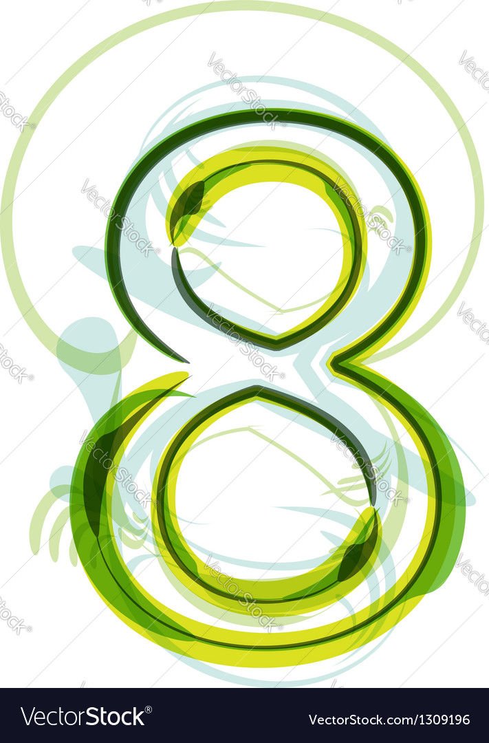 Green number 8 vector